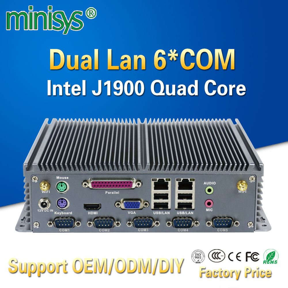 Minisys Low power mini itx computer intel celeron J1900 quad core dual lan barebones fanless industrial pc with parallel port все цены