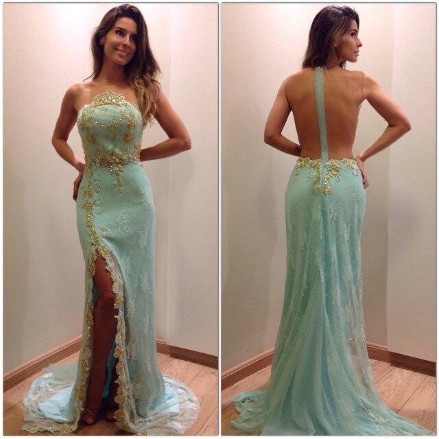 New Arrival Long Prom Dresses 2017 Illusion Neck Sleeveless Floor Length Mermaid Side Slit Beading Lace Evening Dress Prom Dresses