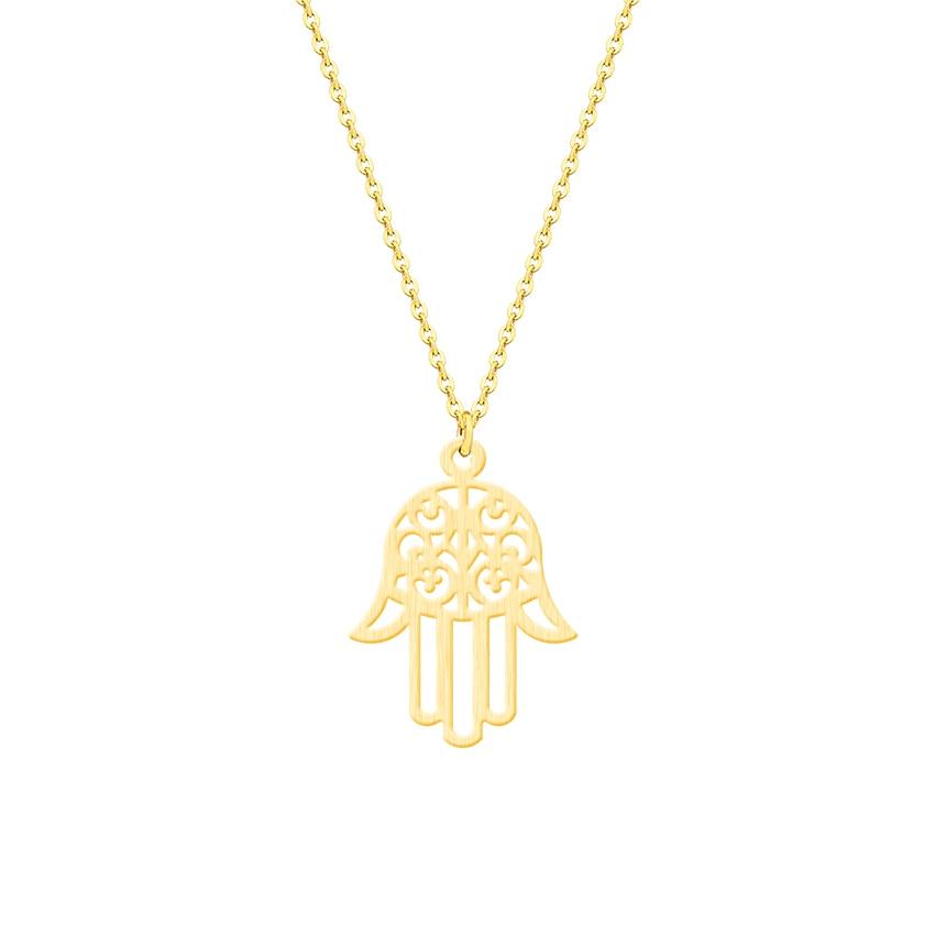 ACEBFEET zaščita Fatima Hand Evil Eye Eye obesek ogrlica za ženske - Modni nakit - Fotografija 1