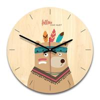 Wooden Cartoon Animal Cute Innovative Wall   Clock   Simpledecorated Wall   Clock   Living Room   Clock   For Children Bedroom As Gift