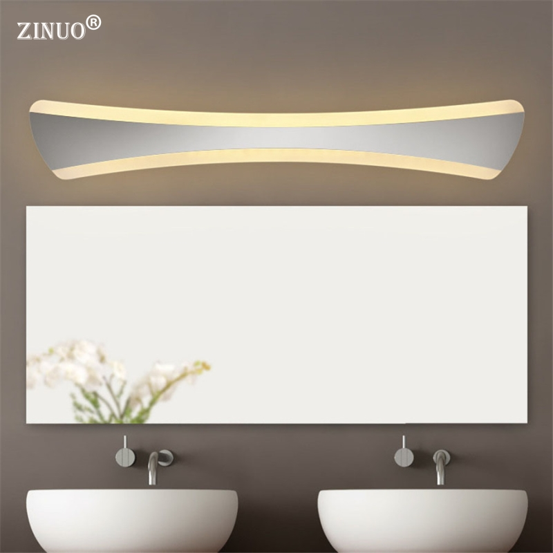 ZINUO Simple Bathroom Mirror Light 14W 42CM LED Acrylic Bathroom Wall Sconce Lamp Make-up Waterproof Anti-fog Lamps 220V b dvolador luxury crystal led mirror front light 10w 15w ac110 220v bathroom waterproof anti fog led stainless steel wall light