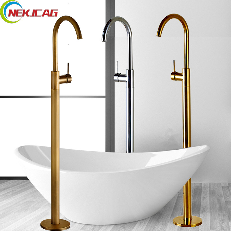 3-colors Free Standing Bathroom Tub Sink Faucet Single Handle Brass Floor Mounted Hot and Cold Bathtub Mixer Taps