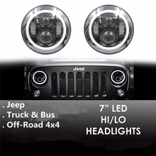4×4 Off-road LED Halo Headlights Kit 7″ Inch LED Headlight H4 HI/LO Headlight With Angle Eye For Jeep Wrangler JK CJ TJ Hummer