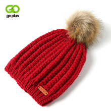 GOPLUS 2019 Winter Brand Fur Pompom Knitted Hat Women Fashion Hip hop Solid Skullies Beanies Female Cotton Thick Warm Caps Girl