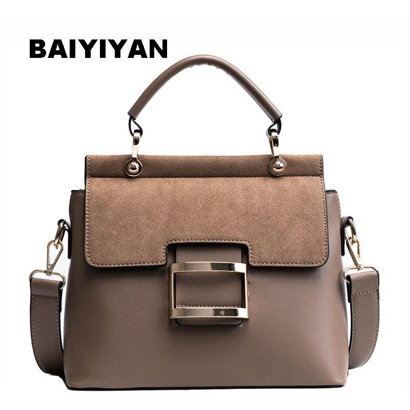Новый из нубука из искусственной кожи верхнюю ручку сумка Для женщин сумки металлической застежкой женские сумка женская сумка