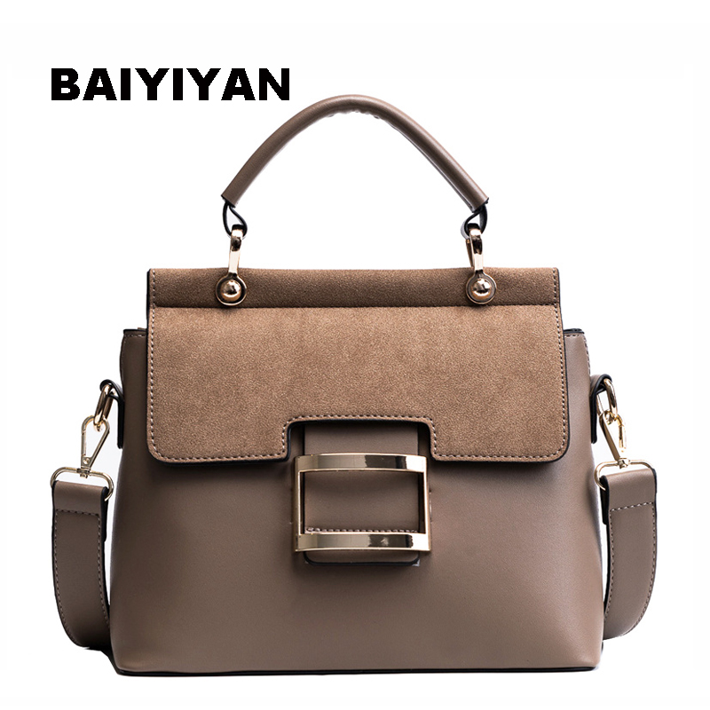 New Nubuck PU Leather Top Handle Tote Bag Women Handbag Metal Hasp Female Shoulder Bag Ladies Messenger Bag metal ring pu leather tote bag
