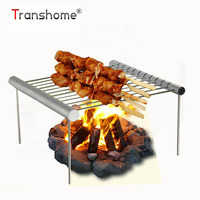 Transhome 1Pcs Shrinkable Barbecue Grill Outdoor Mini Stainless Steel Aluminum Alloy BBQ Grill Accessories Kitchen Tools