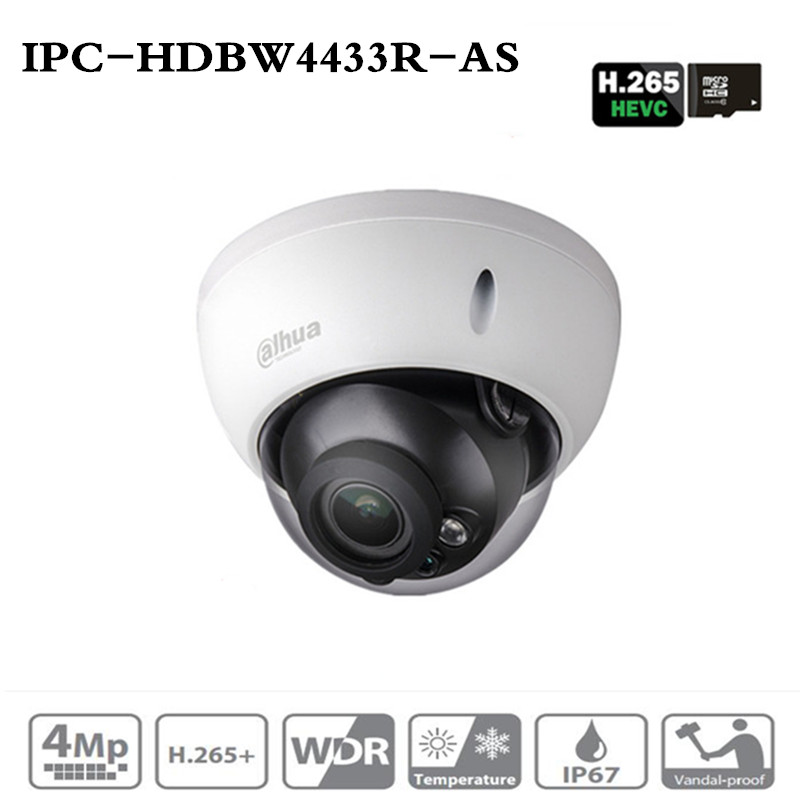 DH 4MP IP Camera IPC-HDBW4433R-AS Replace IPC-HDBW4431R-AS Support IK10 IP67 Audio and Alarm TF card PoE CCTV Security Camera ahua 4mp cctv ip camera ipc hdbw4433r as support ik10 ip67 audio
