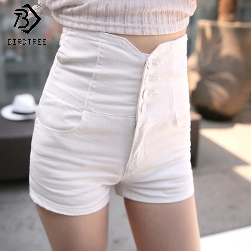 2018 Summer Women   Shorts   Single Breast   Short   Pants High Waist Back Cross Denim   Shorts   Slim Sexy   Shorts   White Black Blue B83115A