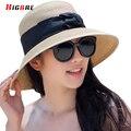 Новое Лето 2016 Дамы Соломенные Шляпы Для Женщин Широкими Полями Вс шляпы УФ-Защита Повседневная Большой Пляж Шляпы Твердые Chapeu Сомбреро Praia