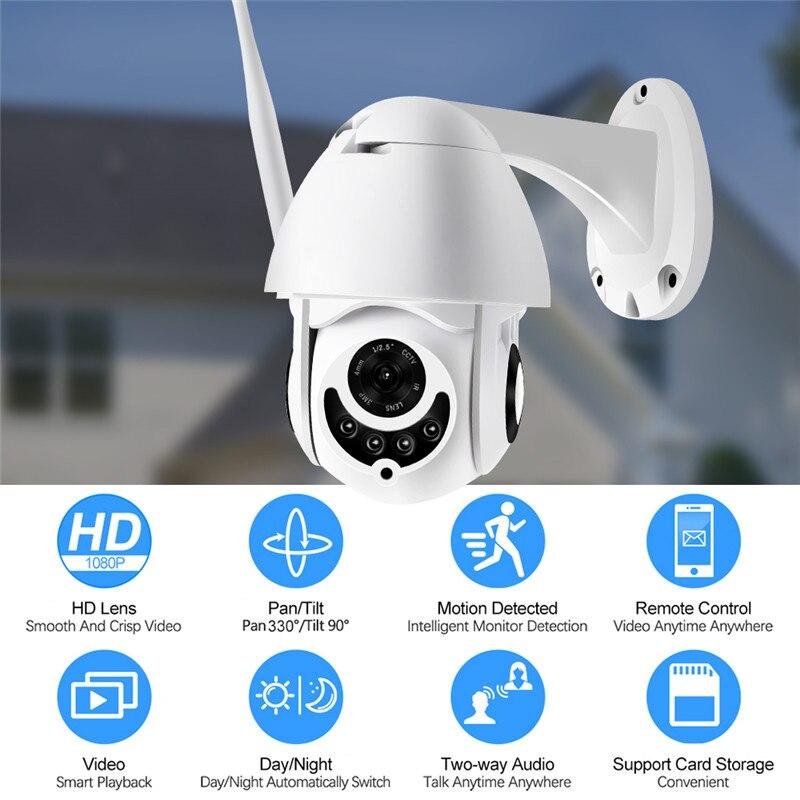 Caméra IP PTZ extérieure caméra IP H.265 + 1080 p dôme de vitesse caméras de sécurité CCTV caméra IP WIFI extérieur 2MP IR surveillance à domicile