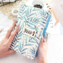 Leaf Branch spiral Ring Notebook Simple Dotted Daily with lock binder Diary Traveler Jounery planner line grid dots Book Bujo A5