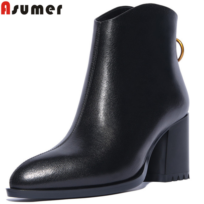 ASUMER big size 34-43 fashion boots women pointed toe zip ankle boots square heel genuine leather boots 2018 autumn new arrival kinder delice пирожное бисквитное покрытое какао глазурью с молочной начинкой 39 г