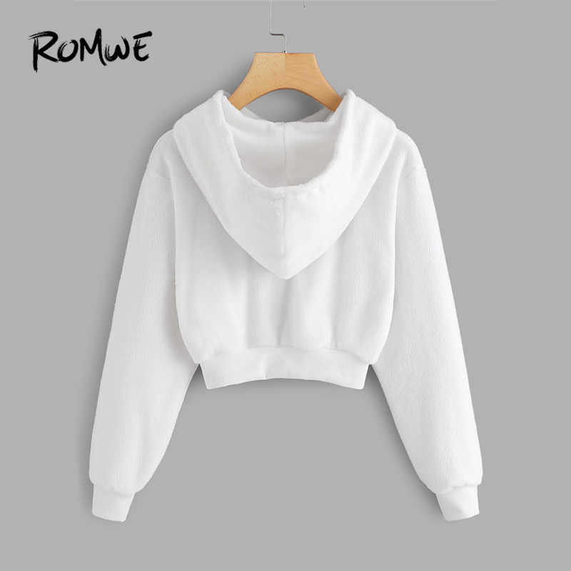 ff6d2be184e48d ... ROMWE White Faux Fur Drawstring Crop Hoodie Female Casual Plain Autumn  New Style Pullovers Spring Hooded ...
