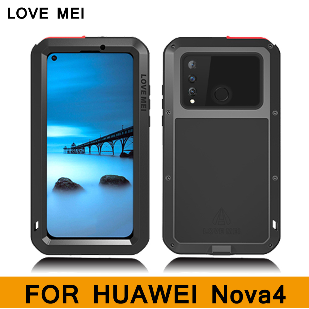 LOVE MEI Powerful Case for HUAWEI Nova 4 Luxury Aluminum Metal Armor Case Life WaterProof Shockproof full cover for huawei Nova4