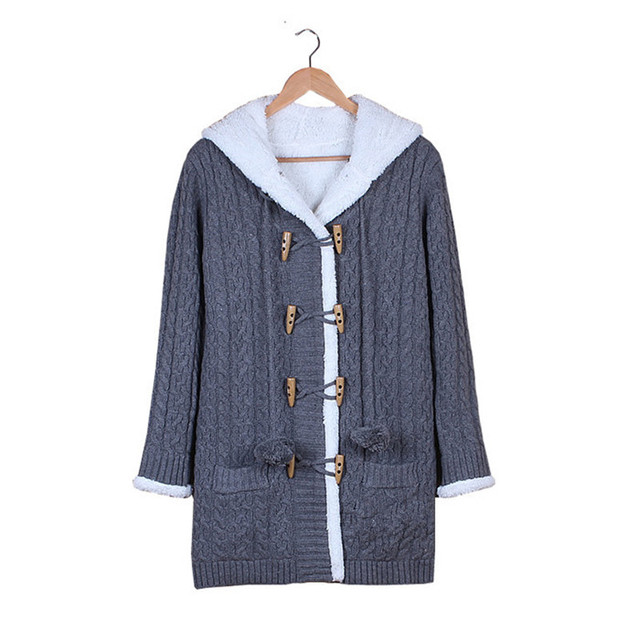 Fashion Winter Autumn Women Sweater Double-breasted hooded sweater Cardigans solid Long Thicken Coat