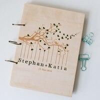 Personalizado livro De convidados Do Casamento, presente do aniversário do noivado, livro de visitas livro sinal, álbum de memória, gravado a laser, Árvore do Pássaro do amor
