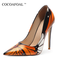 COCOAFOAL Women's High Heels Shoes Woman Wedding Pumps Sexy Stiletto Plus Size Fashion Sexy Party Pointed Toe Pumps Butterfly