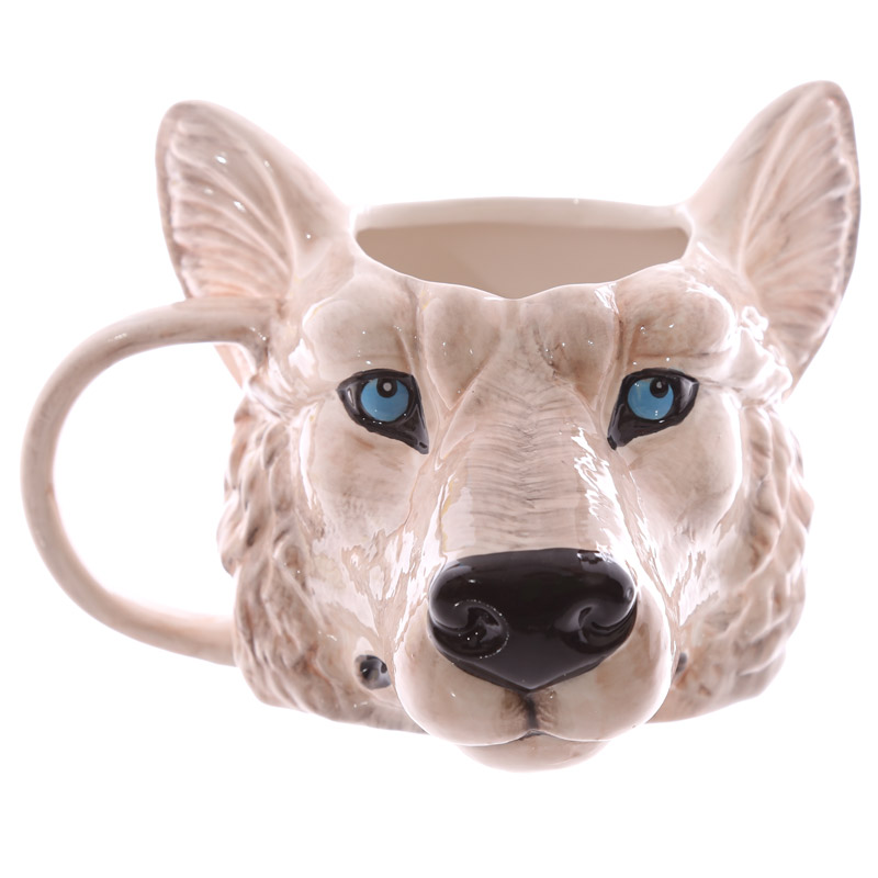 1piece wild wolf adventure ceramic cup coffee mug wolf for Animal shaped mugs