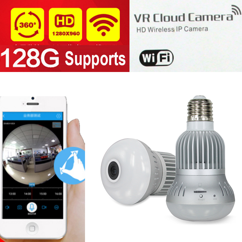 ФОТО support 128GB & SAVE 1 month 1.3MP 960P 360 Panorama Wifi IP Camera bulb camera lamp Surveillance Camera P2P VR camera camcorder