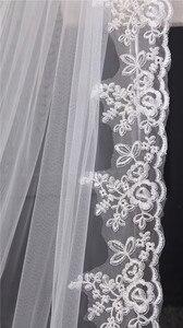 Image 4 - תחרה אפליקציות למעלה דשא 3*1.5M ארוך זנב אחד שכבה תחרה קצה ארוך רכבת יפה כלה רעלה עבור שמלת כלה