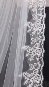 Image 4 - Lace Appliques Top Grass 3*1.5M Long Tail One Layer Lace Edge Long Train Beautiful Bridal Veil For Wedding Dress