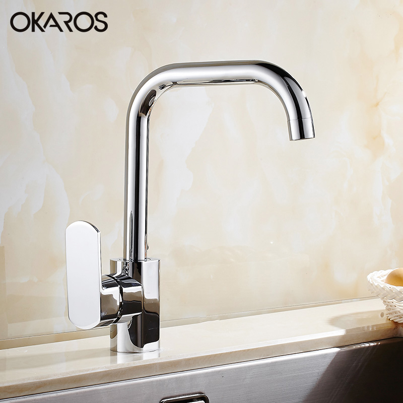 OKAROS Contemporary Kitchen Faucet Water Tap Chrome Finish Solid Brass Single Handle Hot And Cold Water