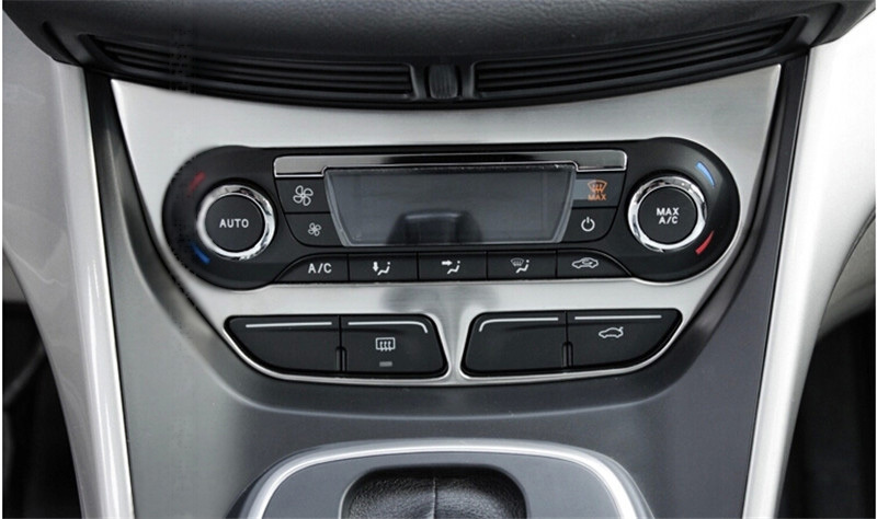 Car Styling Air Condition Panel Sticker Center Control Cover For Ford Kuga Escape 2013 2014 2015 AT Stainless Steel 1pc Per Set