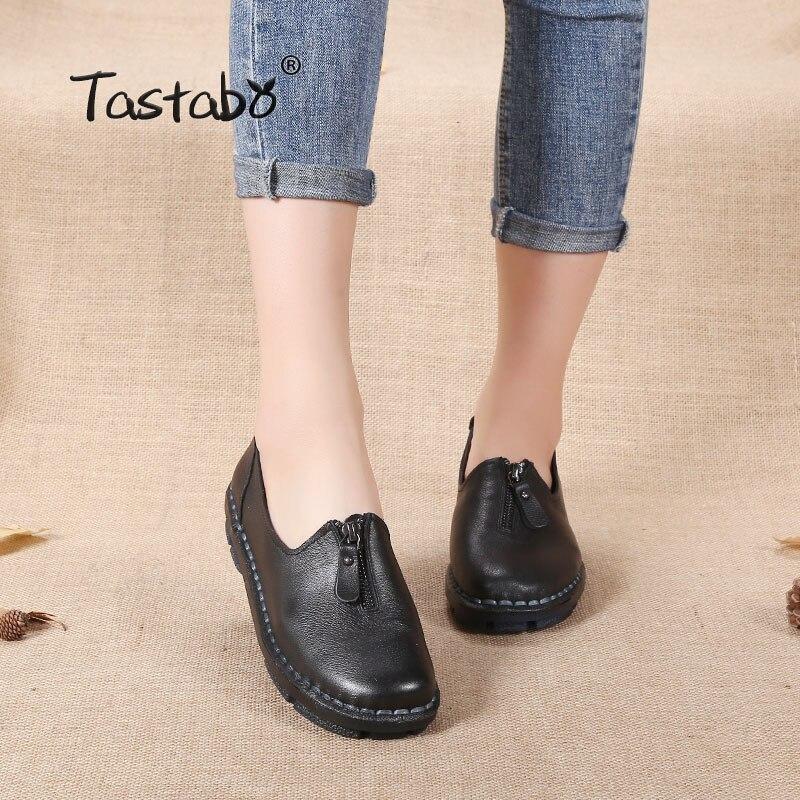 цена на Tastabo Design Shoes Women Luxury Pure Black Flats Casual Soft Genuine Leather Shoes Solid Ladies Pregnant Women Non-slip Shoes