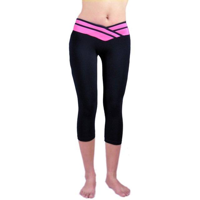 4706a9d42f75c Yoga Pant For Women High Waist Leggings Sport Running Pants Athletic  Workout Fitness Training Waistband Capri Leggings Pant