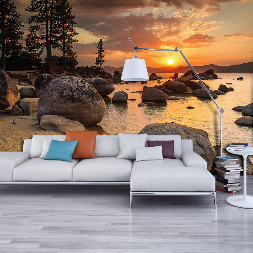 High Quality 3D Mural Custom Wallpaper HD Dusk Beach View Wall Papers Home Decor Wall Decals Living Room Bedroom Backdrop Murals