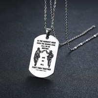 Wholesale Soldier Dog Tag For Brother Pendant Necklace for Men Stainless Steel Call On me Brother with 24 inch