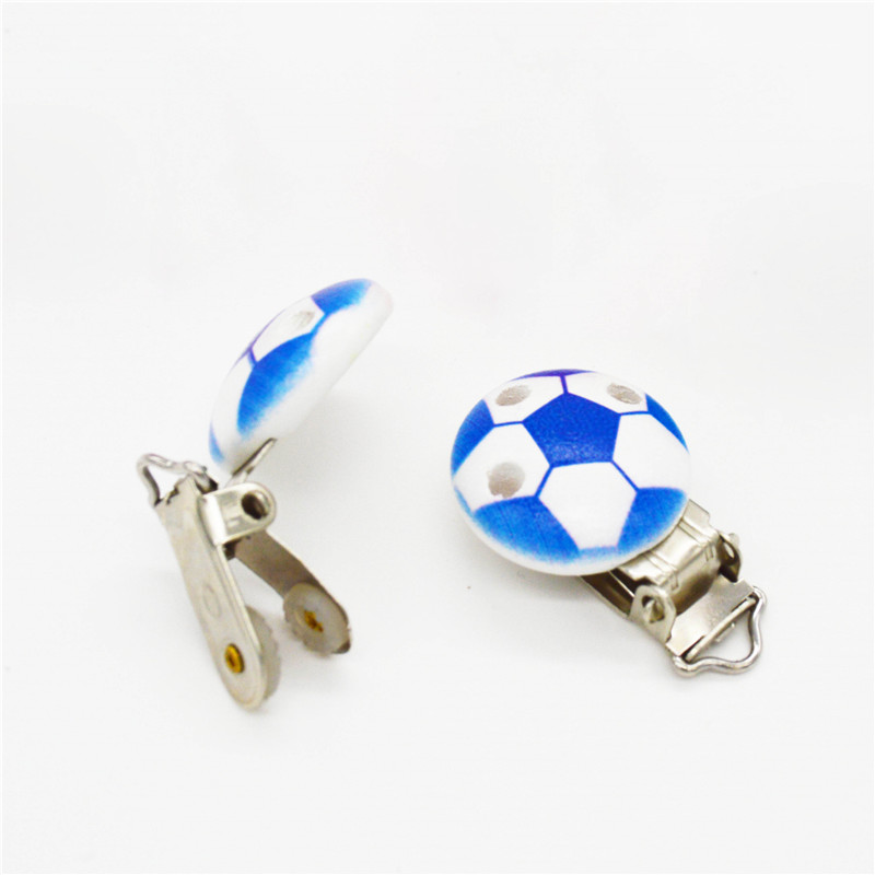 5PCS Wood Baby Pacifier Clip Round Solid Blue Football Pattern White Wood Metal Holders 4.4cm X 2.9cm(1 6/8