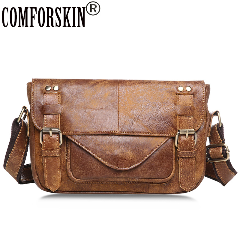 COMFORSKIN Men Messenger Bag New Arrivals Cover Style Vintage Leather High Quality Cowhide Cross-body Bags