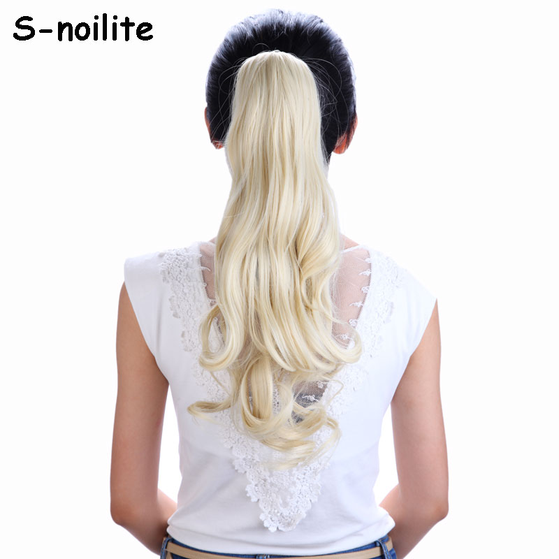 613 Bleach Blonde 18 Inches Long Ponytail Clip In Hair