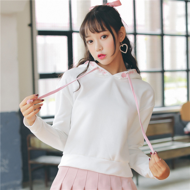 Japanese Kawaii Hoodies Women Love Embroidery Sweatshirts -6190