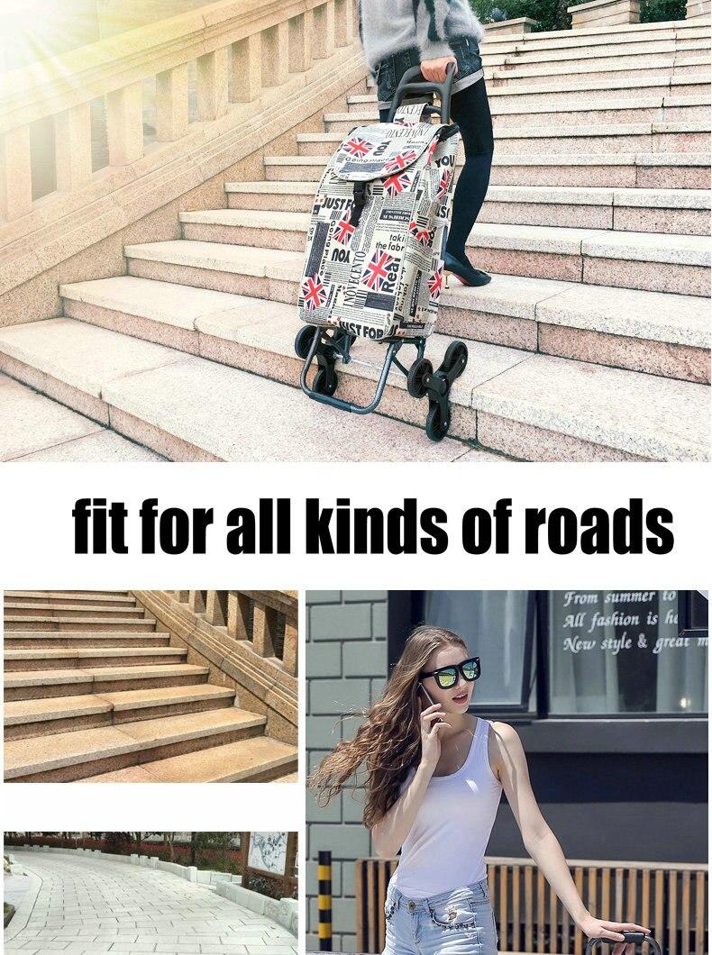 Hogar subir escaleras carrito de compras con el bolso impermeable ...