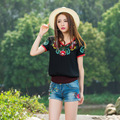 Brand Clothing 2016 Summer Women T-shirt Chinese National Style Floral Embroidery T Shirts Female Tops Tee Plus Size 4XL JA2262
