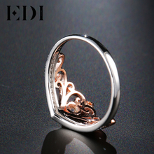 EDI Classic CROWN Real Natural Diamond Wedding Rings For Women 14k 585 Rose White Gold Engagement Bands Fine Jewelry