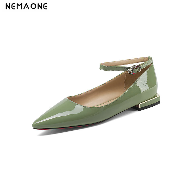 NEMAONE Woman Genuine Leather Flat Shoes Fashion Hand sewn Leather Loafers Female hole hole shoes Women