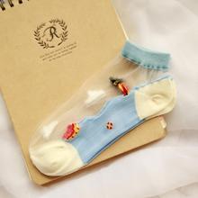 New Arrival Women Socks Boat Short Transparent Crystal Cotton Low-cut Cartoon Ankle Socks Youthful Style Patterns Sokkens Meias