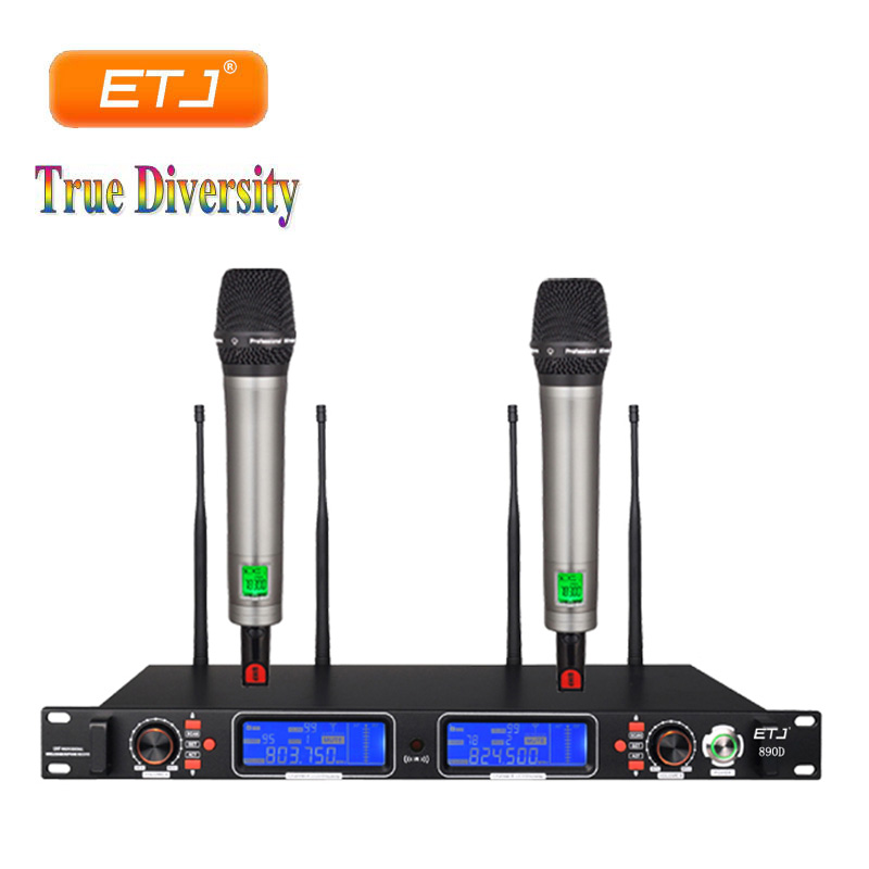 True Diversity Professional UHF Wireless Microphone 2 Transmitter 4 Receiver Stage Performance Microphone 890DTrue Diversity Professional UHF Wireless Microphone 2 Transmitter 4 Receiver Stage Performance Microphone 890D