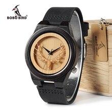 BOBO BIRD WB18 الغزلان الهيكل العظمي خشب أسود الساعات حلقة من جلد رجالي العلامة التجارية الأعلى ساعات كوارتز مع صندوق خشبي relogio OEM