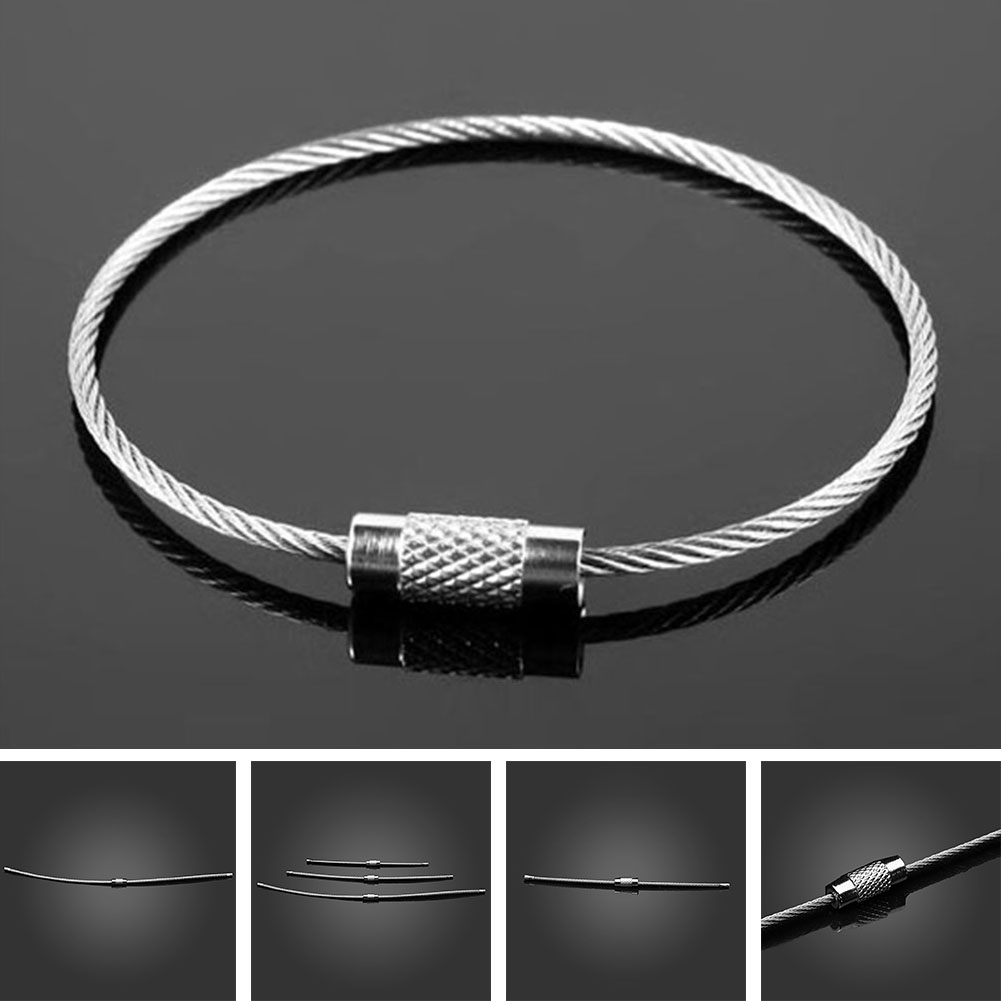 3 Size EDC Stainless Steel Wire Keychain Ring Key Keyring Circle Rope Cable Loop Outdoor Camp Luggage Tag Screw Lock Gadget