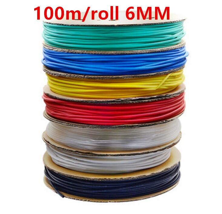 все цены на 100m/roll 6MM Heat shrinkable tube heat shrink tubing Insulation casing 100m a reel онлайн