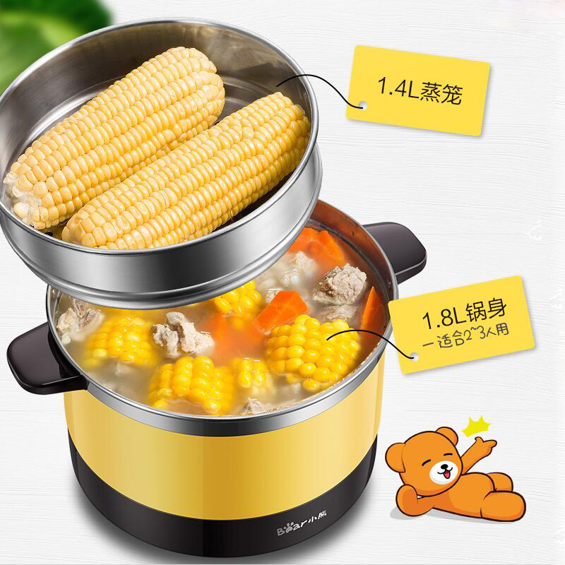 Bear DRG-C18Q6 Electric Cooker Multifunction Home Electric Cooker Fully Automatic Dorm Room Mini Pot Cooking Pot Small Pot salter air fryer home high capacity multifunction no smoke chicken wings fries machine intelligent electric fryer