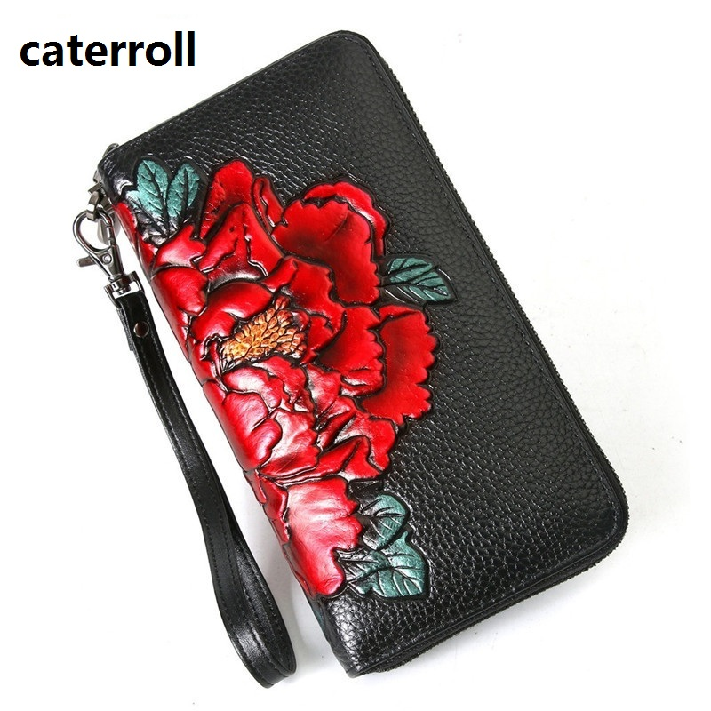 Genuine Leather Women Wallets Long Floral Ladies Wallet Cow Leather Clutch Bag Large Capacity Female Purse