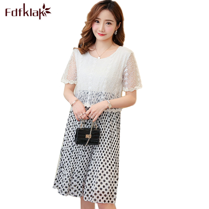 Fdfklak Fake Two Pieces Chiffon Maternity Clothes Short Sleeve Summer Maternity Clothes Dot Pregnancy Dress Pregnant Dress Women