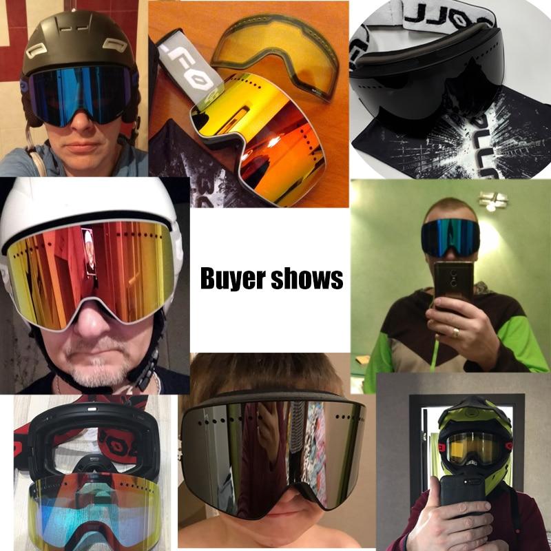 Double couche magnétique lentille lunettes de Ski masques Anti-buée UV400 lunettes de Snowboard lunettes de Ski lunettes pour hommes femmes avec étui - 6