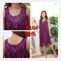 2016 summer satin sleepwear fashion home apparel round collar female silk nightgowns hot sale lace short sleeves women